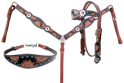 Sunflower Tack Set with Turquoise Buckstitching