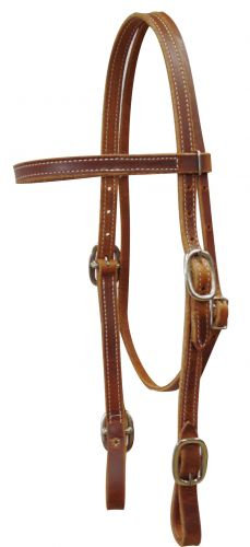 Double Stitched Harness Leather Browband Headstall