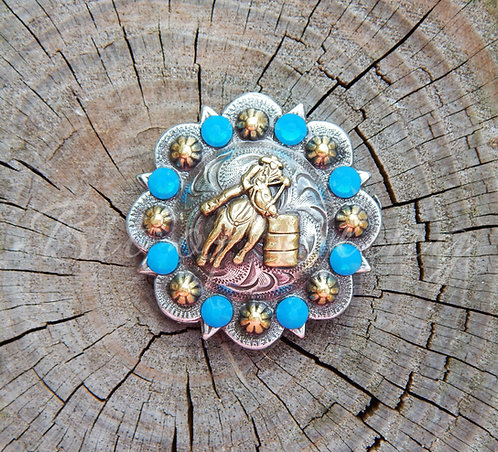 Silver & Gold Round Berry Barrel Racer Concho - Caribbean Blue Opal