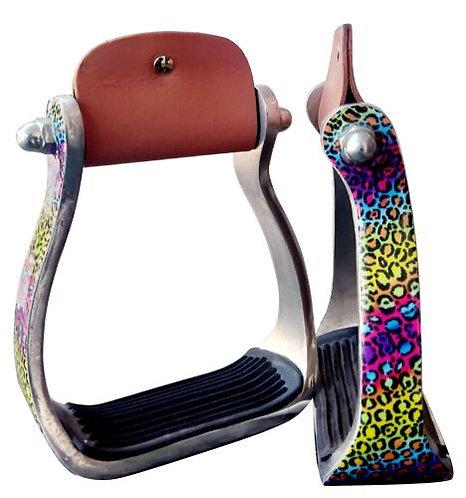 Rainbow Cheetah Print Stirrups