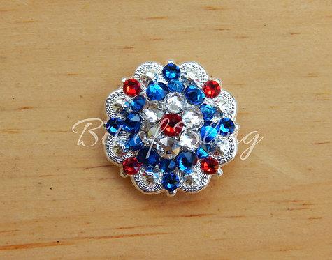 Shiny Silver Round Berry Concho - Lt. Siam, Crystal, Capri Blue