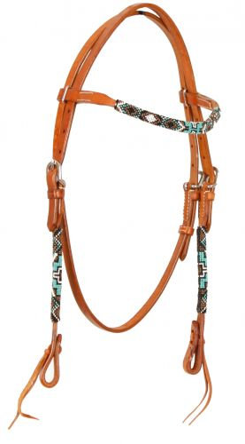 Beaded Leather Browband Headstall #74065