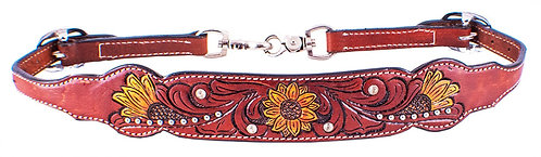 Floral Tooled Sunflower Wither Strap