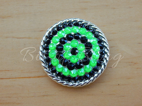 Shiny Silver Round Rope Edge Concho - Jet & Electric Green