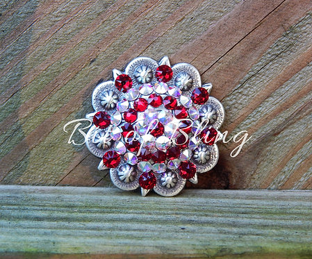 Antique Silver Round Berry Concho - Siam& Crystal AB