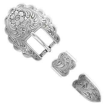 Antique Silver Scalloped 3pc Buckle
