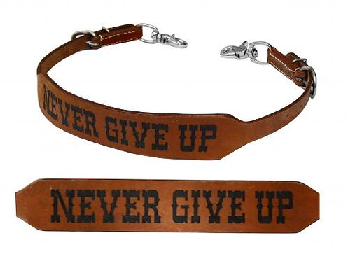 Never Give Up Branded Leather Wither Strap