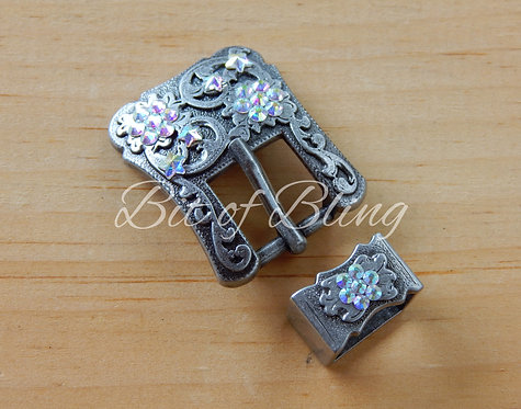 Starry Crystal AB Antique Silver Western Buckle & Keeper Set
