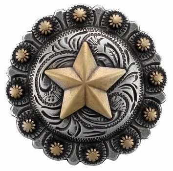 Antique Silver & Gold Round Berry Star Concho