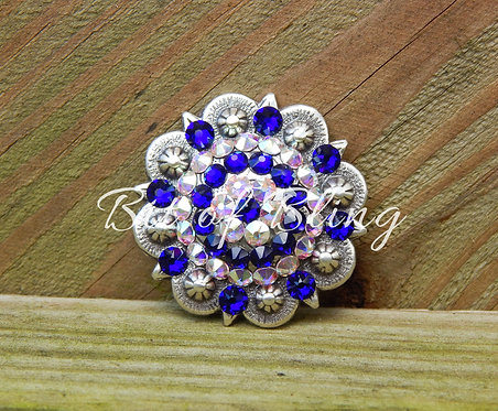Antique Silver Round Berry Concho - Cobalt & Crystal AB