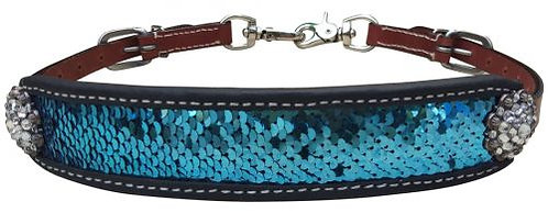 Teal & Silver Sequin Inlay Wither Strap