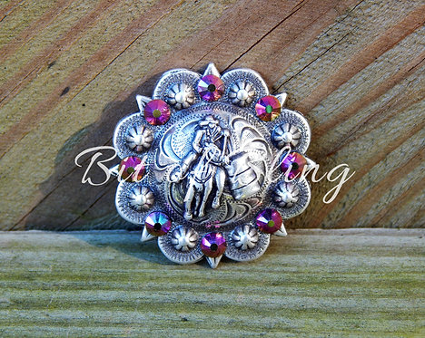 Antique Silver Round Barrel Racer Berry Concho - Rose Gold Rainbow