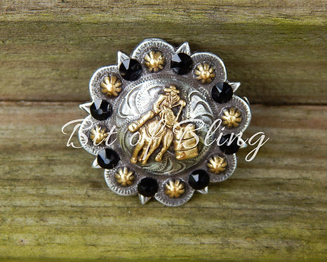 Silver and Gold Round Berry Barrel Racer Concho - Jet
