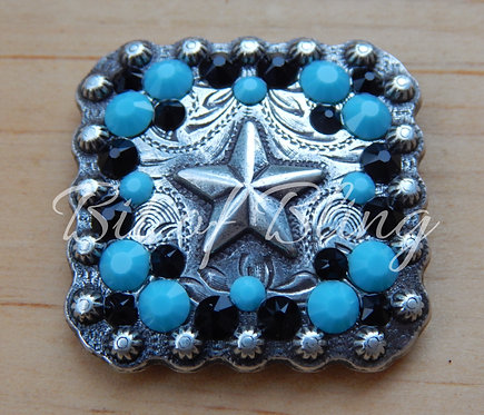 Antique Silver Square Berry Star Concho - Jet & Turquoise