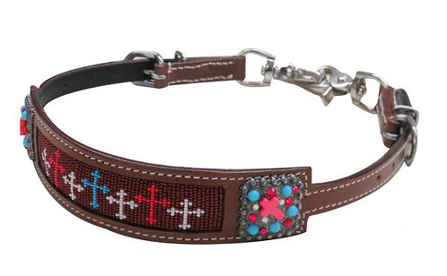 Multi Color Beaded Crosses Wither Strap