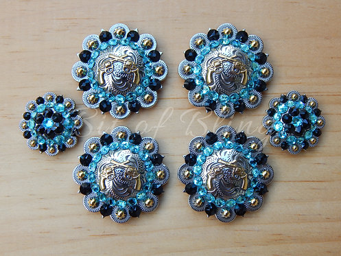 Silver & Gold Round Berry Crossed Pistols Saddle Set - Jet & Lt. Turquoise