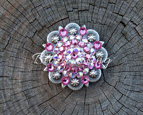 Antique Silver Round Berry Concho - Rose & Crystal AB