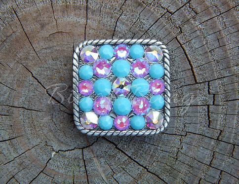 A. S. Square Rope Edge Concho - Crystal AB, Electric Violet Delite, Turquoise