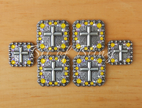 Antique Silver Square Berry Cross Saddle Set - Yellow Opal & Crystal AB