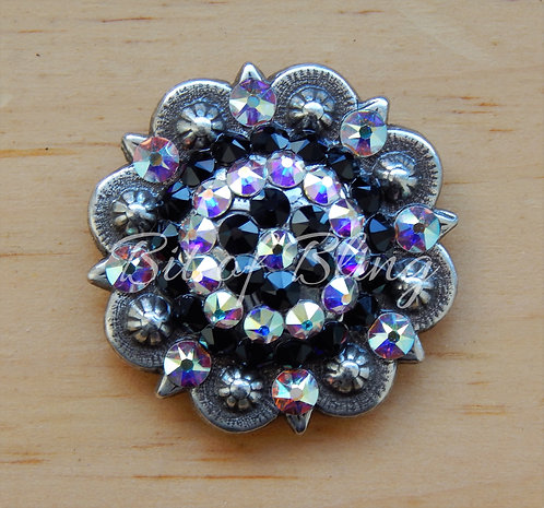 Antique Silver Round Berry Concho - Jet & Crystal AB