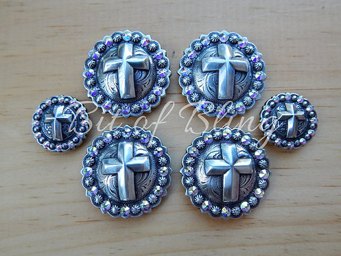 Antique Silver Round Berry Cross Saddle Set - Crystal AB