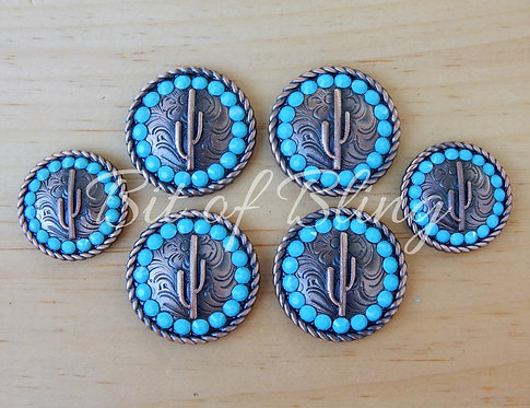 Copper Round Rope Edge Cactus Saddle Set - Turquoise