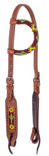 Beaded Sunflower & Cactus One Ear Leather Headstall