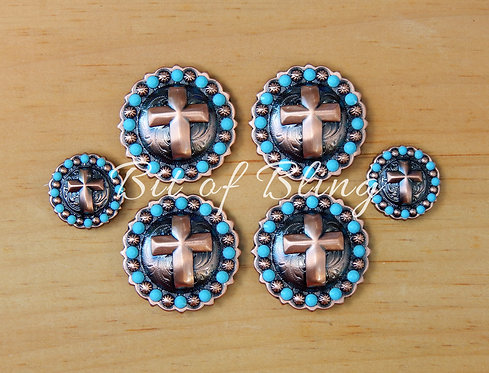 Copper Round Berry Cross Saddle Set - Turquoise
