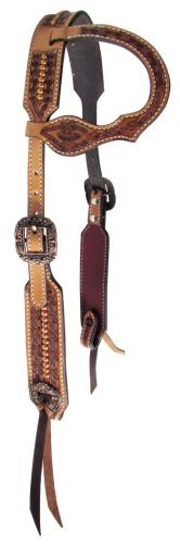 Copper Studded & Engraved One Ear Leather Headstall