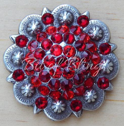 Antique Silver Round Berry Concho - Lt. Siam & Siam