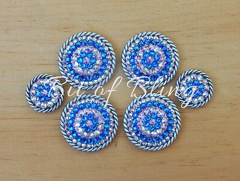 AntiqueSilver Round Rope Edge Saddle Set - Bermuda Blue & Crystal AB