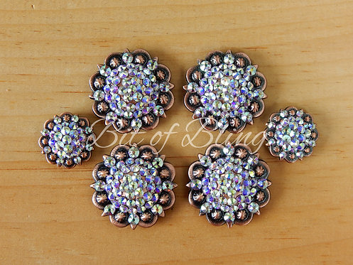 Copper Round Berry Saddle Concho Set - Crystal AB