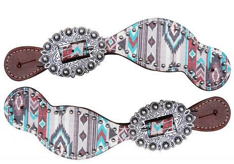 Multi Color Navajo Diamond Print Spur Straps