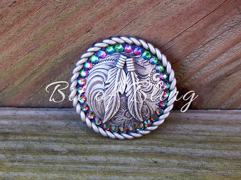 Antique Silver Round Rope Edge Feathers Concho - Green Volcano