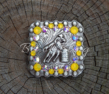 Antique Silver Square Berry Barrel Racer Concho - Yellow Opal & Crystal AB