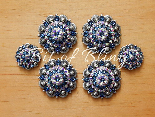 Antique Silver Round Berry Saddle Set - Denim Blue & Crystal AB