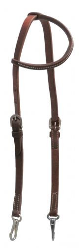 Oiled Harness Leather Quick Change One Ear Headstall, Stainless