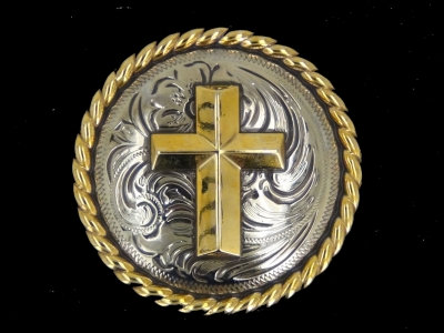 Silver & Gold Round Rope Edge Cross Concho