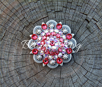 Antique Silver Round Berry Concho - Indian Pink & Crystal AB