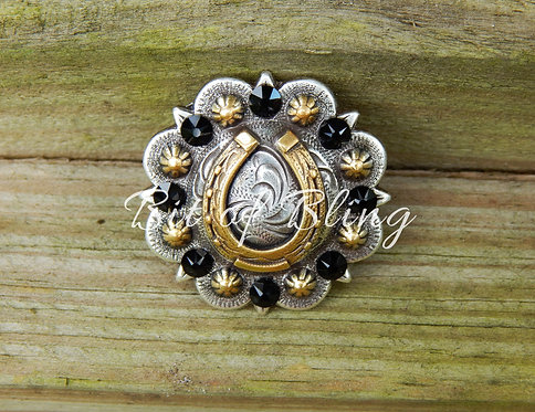 Silver and Gold Round Berry Horseshoe Concho - Jet