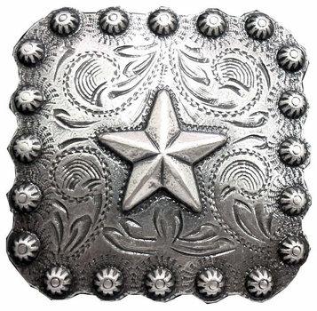 Antique Silver Square Berry Star Concho