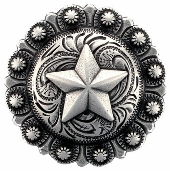 Antique Silver Round Berry Star Concho