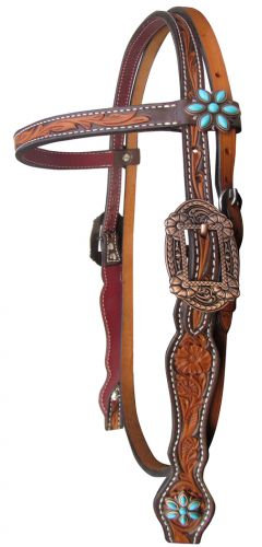 Turquoise Flower Concho Leather Browband Headstall