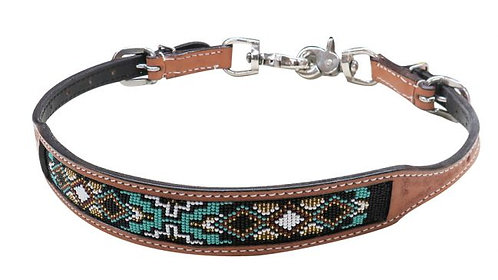 Beaded Leather Wither Strap #19320