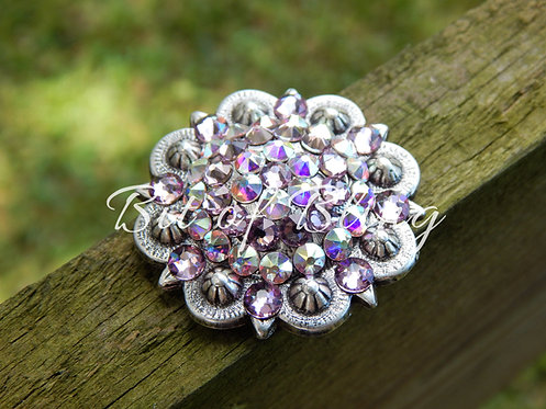 Antique Silver Round Berry Concho - Light Amethyst & Crystal AB