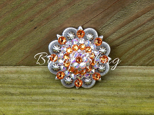 Antique Silver Round Berry Concho - Topaz & Crystal AB