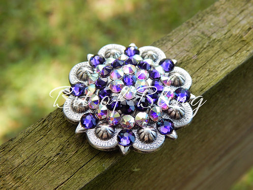 Antique Silver Round Berry Concho - Purple Velvet & Crystal AB
