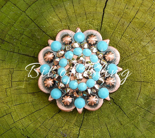 Copper Round Berry Concho - Rose Gold & Turquoise