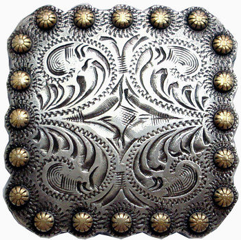 Antique Silver & Gold Square Berry Concho