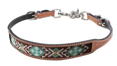 Beaded Leather Wither Strap #19318